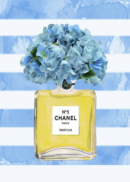 Chanel Painting - Chanel Perfume Nr 5 With Blue Hydragenias 2 by Del Art