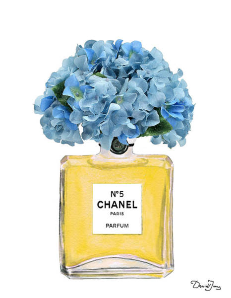 Chanel Painting - Chanel Perfume Nr 5 With Blue Hydragenias  by Del Art