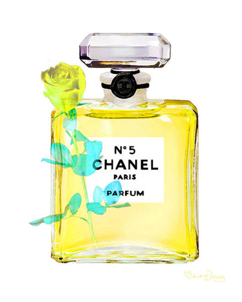 Chanel Painting - Chanel Perfume Nr 5 Yellow With Rose by Del Art