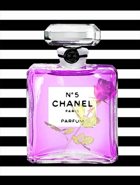 Chanel Painting - Chanel Perfume On Stripes 3 by Del Art