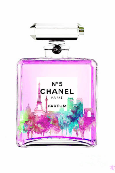 Wall Art - Painting - Chanel Perfume Pink by Del Art
