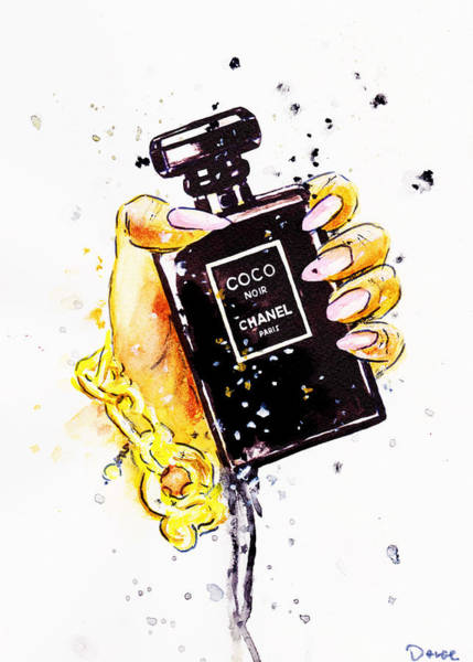 Chanel Painting - Chanel Perfume Poster, Noir Perfume In Hand by Del Art