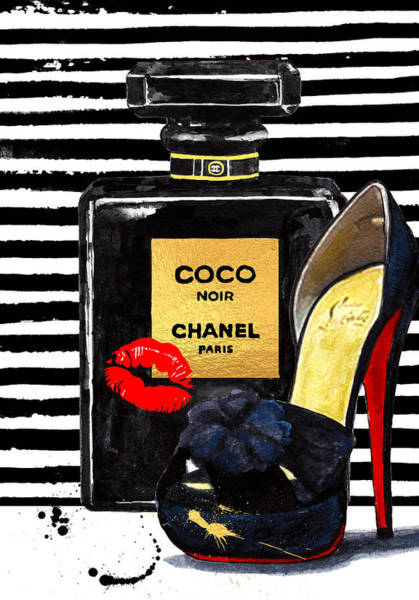 Christian Louboutin Wall Art - Painting - Chanel Perfume With Red Lips by Green Palace