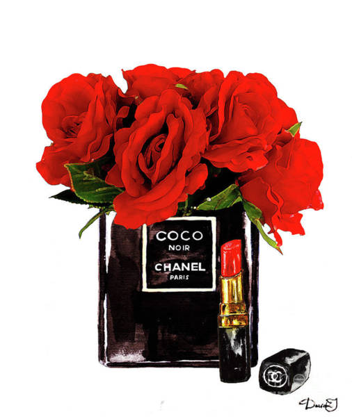 Wall Art - Painting - Chanel Perfume With Red Roses by Del Art