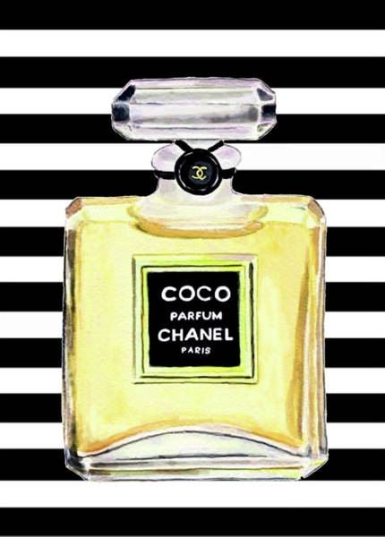 Chanel Painting - Chanel Perfume Yellow Chanel Poster Chanel Print by Del Art