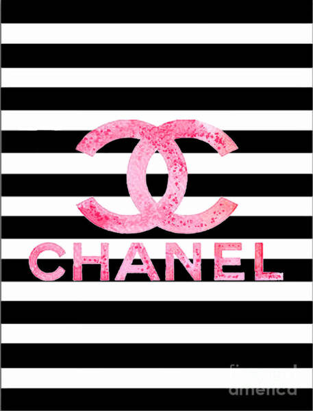 Home Digital Art - Chanel Pink Logo On Stripes by Del Art
