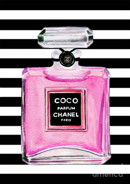 Chanel Painting - Chanel Pink Perfume 1 by Del Art