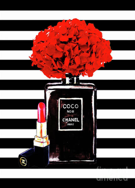 Wall Art - Painting - Chanel Poster Chanel Print Chanel Perfume Print Chanel With Red Hydragenia 3 by Del Art