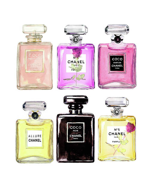 Chanel Painting - Chanel Poster Chanel Set Print Chanel Perfumes by Del Art