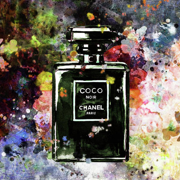 Chanel Painting - Chanel Poster Yellow Chanel Print Chanel Noir Perfume Print Chanel Noir Watercolor by Del Art