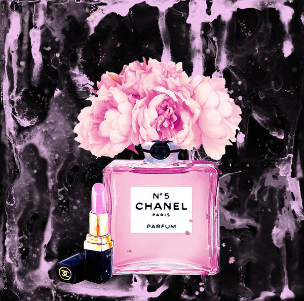 Chanel Painting - Chanel Print Chanel Poster Chanel Peony Flower Black Watercolor by Del Art