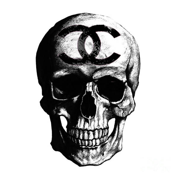 Chanel Painting - Chanel Skull Black by Del Art