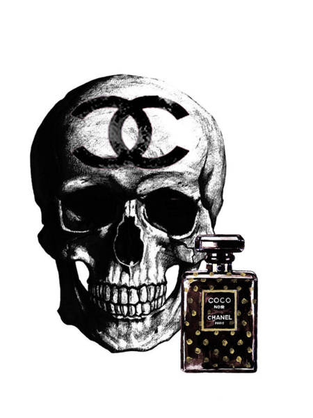 Chanel Painting - Chanel Skull With Chanel Noir Perfume by Del Art
