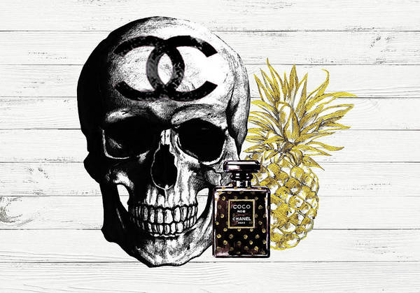 Wall Art - Painting - Chanel Skull With Chanel Perfume And Pineapple by Del Art