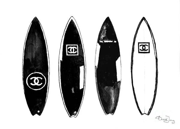 Watercolor Painting - Chanel Surfboard  Black And White by Del Art