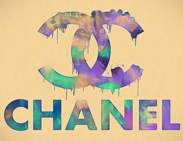 Chanel Number Five Painting - Chanel Watercolor Logo by Dan Sproul