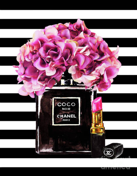 Wall Art - Painting - Chanel With Flowers 55 by Del Art