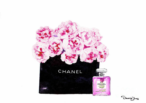 Wall Art - Mixed Media - Chanel With Flowers by Del Art