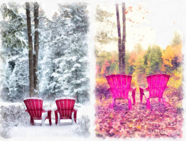 Digital Art - Changing Seasons Anderson Pond Eastman Grantham New Hampshire by Edward Fielding