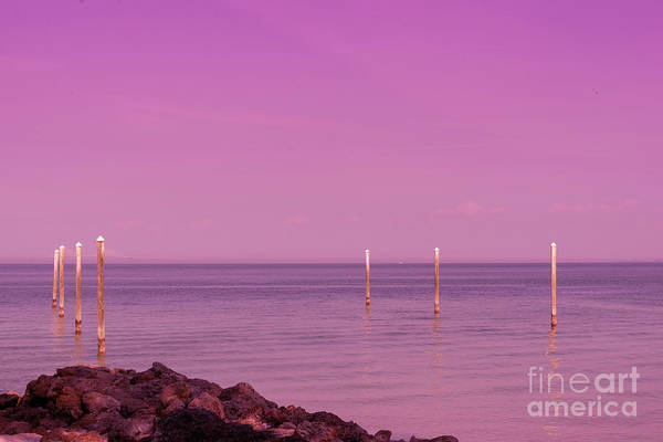 Photograph - Channel Markers At Sunset by Les Palenik