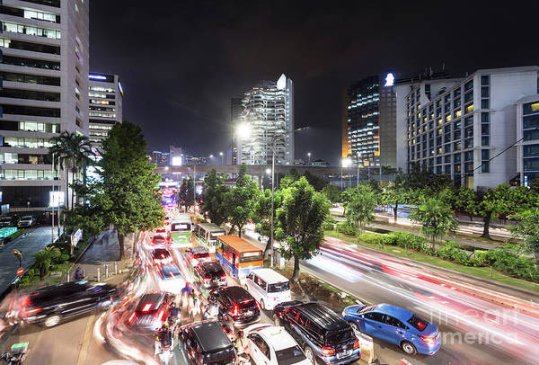 Photograph - Chaotic Traffic Jam In Jakarta At Night, Indonesia by Didier Marti