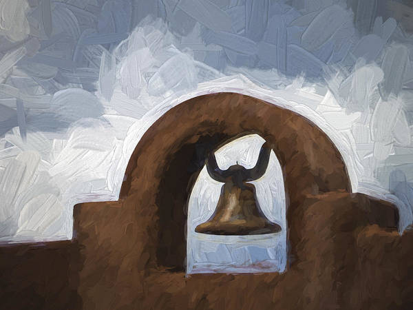 Mexico Photograph - Chapel Bell Chimayo Painterly Effect by Carol Leigh