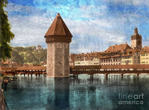 Photograph - Chapel Bridge In Lucerne by Carlos Diaz