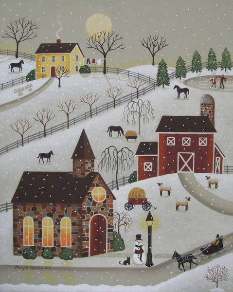 Chapels Painting - Chapel In The Snow by Mary Charles