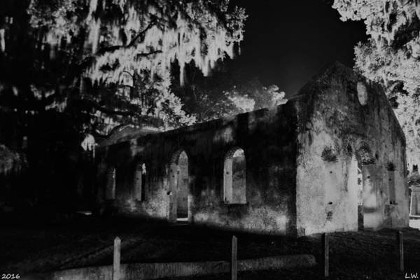 Photograph - Chapel Of Ease St. Helena Island At Night Black And White by Lisa Wooten