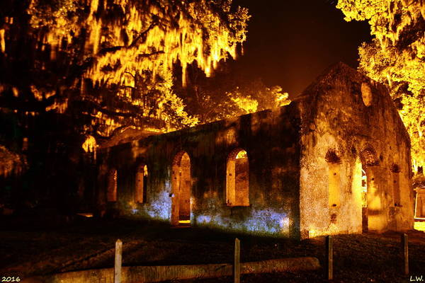Photograph - Chapel Of Ease St. Helena Island At Night by Lisa Wooten