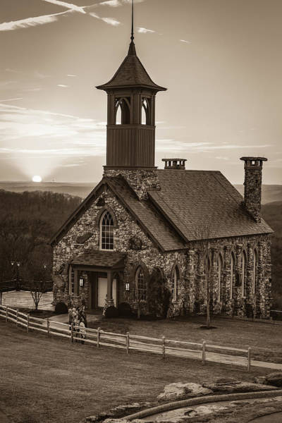 Photograph - Chapel Of The Ozarks Sunset At Top Of The Rock - Sepia by Gregory Ballos
