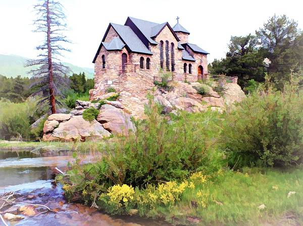 Digital Art - Chapel On A Hill - Allenspark, Colorado by Joseph Hendrix