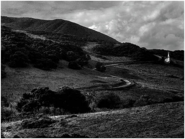 Photograph - Chapel On A Road To The Sun Monochrome by Wayne King