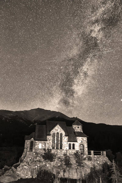 Photograph - St Malo Milky Way Perseid Meteor Shower Bw Sepia by James BO Insogna