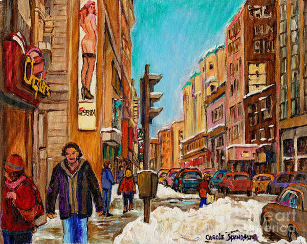 Painting -  Rue Stanley La Senza Montreal Memories Landmarks Carole Spandau  by Carole Spandau