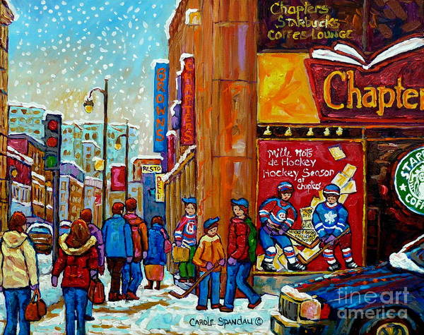 Painting - Chapters Book Shop Downtown Montreal Memories Winter Street Scene Painting Hockey Art Carole Spandau by Carole Spandau