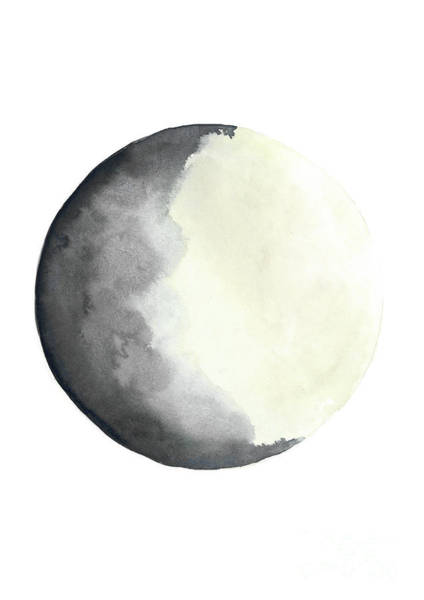 Wax Painting - Charcoal And Cream Waxing Gibbous Moon Watercolor by Joanna Szmerdt
