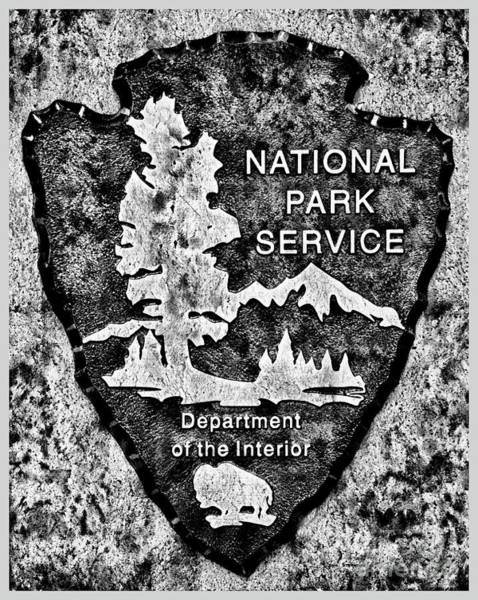 Wall Art - Photograph - Charcoal National Park Service Logo by John Stephens
