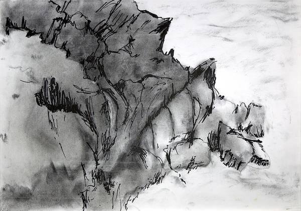 Charcoal Sea Rocks Art Print