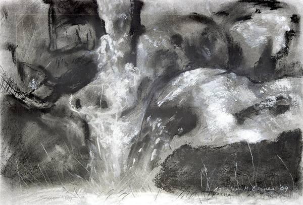 Charcoal Waterfall Art Print