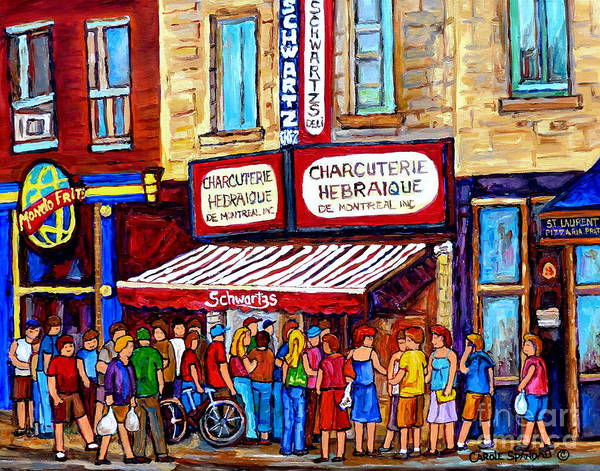 Wall Art - Painting - Charcuterie Hebraique Schwartz Line Up Waiting For Smoked Meat Montreal Paintings Carole Spandau     by Carole Spandau