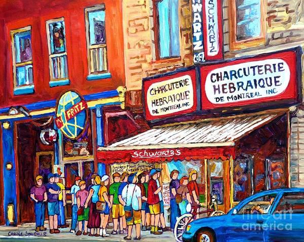 Painting - Charcuterie Schwartz Line Up Montreal Summer Scene Painting Rue St Laurent Carole Spandau by Carole Spandau