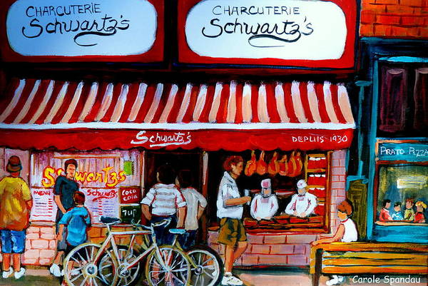 Luncheonettes Painting - Charcuterie Schwartz's Deli Montreal by Carole Spandau