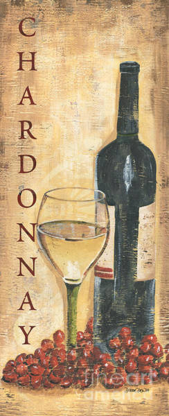 Still-life Painting - Chardonnay Wine And Grapes by Debbie DeWitt