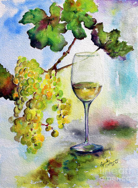Painting - Chardonnay Wine Glass And Grapes by Ginette Callaway