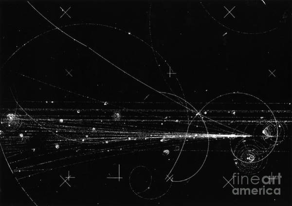 Wall Art - Photograph - Charged Particles, Bubble Chamber Event by Science Source