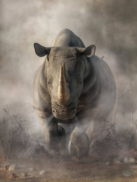 Danger Digital Art - Charging Rhino by Daniel Eskridge