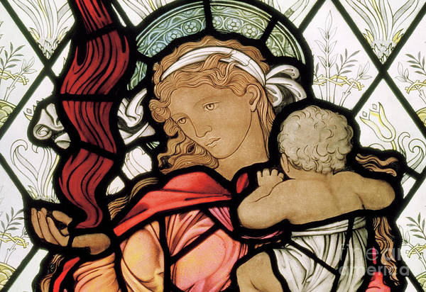 Wall Art - Glass Art - Charity by Edward Coley Burne-Jones