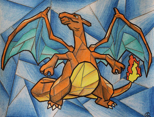 Pokemon Drawing - Charizard by Robyn Paul