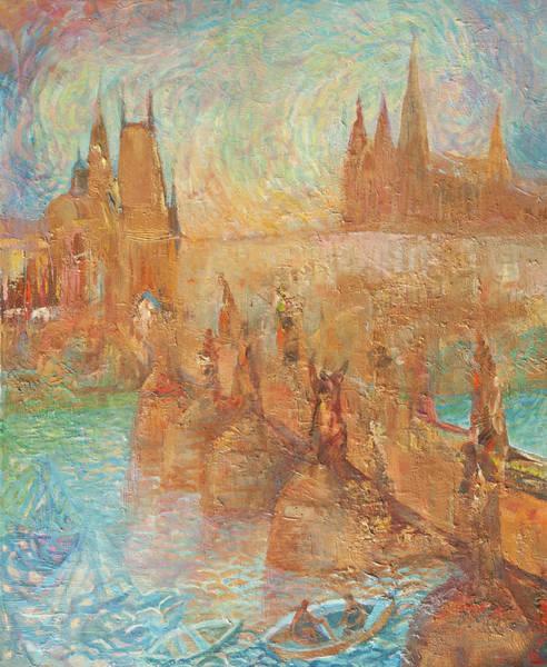Painting - Charles Bridge And St Vitus Cathedral. Golden Prague by Anna Skorko